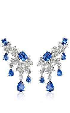 18 K White Gold Dancing Butterfly Sapphire #Earrings by #VANLELES for Preorder on #ModaOperandi