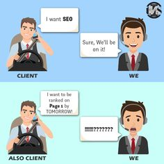 CLIENT: I want SEO WE: Sure, we are on it. ALSO CLIENT: I want to be ranked on page 1 by tomorrow WE: !!!!!!??????? #didyouknow #knowledge #publicrelations #SearchEngineOptimization #SEO #socialmediamarketing #smm #contentmarketing #Promotions #strategy #plan #create #agencylife Content Marketing, Social Media Marketing, Digital Marketing, Seo Services, Search Engine Optimization, Public Relations, Web Development, Web Design, Knowledge
