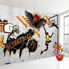 Basketball Drawings, Basketball Wall, Basketball Posters, Basketball Birthday, Basketball Shoes, Boys Bedroom Decor, Bedroom Murals, Wall Murals, Graffiti Wall Art