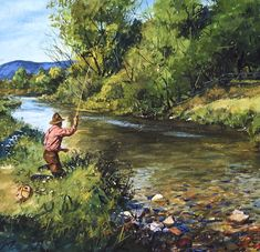 """Dry Fly"" fly fishing watercolor painting by Brett J Smith."