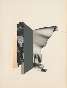 Remains - collage and mixed media on paper by artist Leigh Wells.