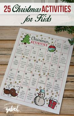 Make family memories with these 25 fun Christmas activities for kids printable calendar! Includes family friendly crafts, recipes, DIY projects, community volunteer ideas, and more! Easy ideas to do and make at home!