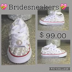 Women s Brides Converses   Wedding Custom Sneakers Bling Women s  Converses Honeymoon Converses 7b26b0db9a