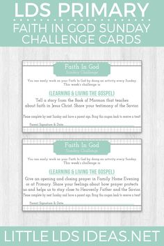 LDS Faith in God Sunday: Challenge Cards Printable