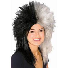Sports Fan Black and White Wig