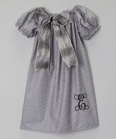 Look at this Gray Glitter Dot Initial Dress - Infant, Toddler