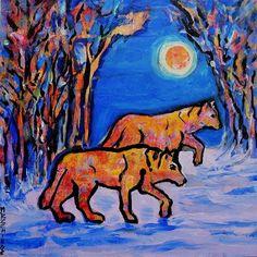 """Night Prowl"" - Original Fine Art for Sale - © Mary Schiros"