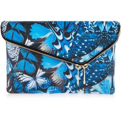 Henri Bendel Debutante Convertible Flutterfly Clutch ($149) ❤ liked on Polyvore featuring bags, handbags, clutches, purses, blue multi, blue handbags, fold over clutches, blue crossbody, crossbody purse and pochette