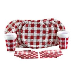 Red Gingham Picnic \u0027n Party! Attractive Bulk Summer Party Supplies Set Includes Dinner Plates  sc 1 st  Pinterest & Gingham Paper Plates Napkins Tablecloth \u0026 Cups | neat stuffs ...