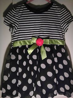PIPER BABY Toddler Girl Dress 24 Black White Stripes Polkadots Lime Green NEW
