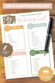 Enhance lds Girls Camp! This editable young women camp packing list is an editable pdf. Perfect for your needs, awesome for your Latter-Day Saint camp! Printable instant download. Bedding, clothing, gear, personal categories. Cute illustrations & clipart! Lds Blogs, Secret Sister Gifts, Fhe Lessons, Camping Packing, Visiting Teaching, Girls Camp, Young Women, Deodorant, Bedding