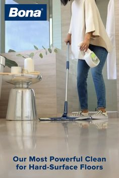 Our most powerful clean for your busy life, Bona PowerPlus® Antibacterial Hard-Surface Floor Cleaner has 5x the cleaning action. 1️⃣ Solution loosens tough, heavy build-up. 2️⃣ Oxygenated formula penetrates for a deep clean. 3️⃣ Bubbling action helps lift away stubborn debris. 4️⃣ Disinfects with the power of Hydrogen Peroxide. 5️⃣ Kills 99.9% of household germs, when used as directed.