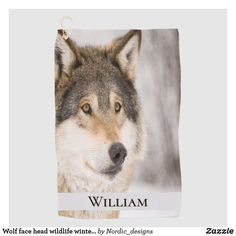 Shop Wolf face head wildlife winter forest name beach towel created by Nordic_designs. Wolf Face, Block Lettering, Nordic Design, Beautiful Gifts, Dog Bowtie, Smile Face, You Are The Father, Beach Towel, Black And Brown