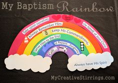"""From my friend Cherise : This is a talk idea that I came up with for an LDS baptism talk I recently gave. It is based on the LDS baptism song """"When I am Baptized"""". Baptism Craft, Baptism Talk, Baptism Gifts, Lds Baptism Ideas, Baptism Food, Mormon Baptism, Baptism Dress, Fhe Lessons, Primary Lessons"""