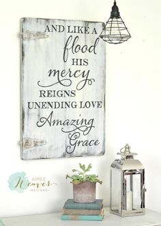 And like a flood His mercy reigns - wood sign by Aimee Weaver Designs