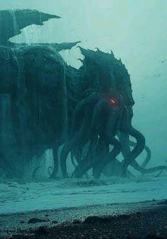 Cthulhu Tattoo, Cthulhu Art, Call Of Cthulhu, Necronomicon Lovecraft, Lovecraft Cthulhu, Hp Lovecraft, Arte Horror, Horror Art, Dark Fantasy Art