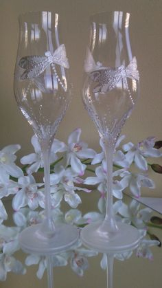 CRYSTAL SET of 2 hand painted wedding by PaintedGlassBiliana, $58.50