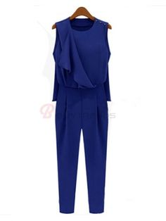 Pure Color Scoop Neck Sleeveless Women's Fashion Jumpsuits Blue on buytrends.com
