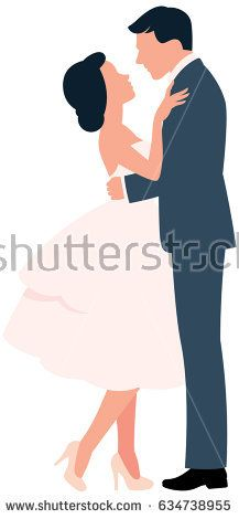 Loving couple hugging man and woman in full length in profile vector illustration
