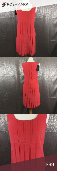 Strenesse by Gabriele Strehle coral pleated dress 100% silk NWT Abito Donna dress strenesse Dresses Mini