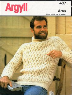 """Vintage mens aran sweater knitting pattern PDF mens cable jumper crew neck 32-46"""" aran worsted 10ply PDF instant Download by Hobohooks on Etsy"""