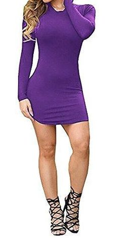 Ermonn Women's Sexy Bodycon Long Sleeve Mini T Shirts Dresses Black White for Party Club (XL purple5)