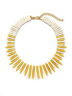 White Spike Bib Necklace from Bold Bib Necklaces on Gilt