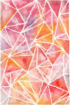 Abstract digital phone or tablet wallpaper with polygonal background, watercolor hand drawn wallpaper by snailfunart on Etsy