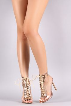 Shop these open toe heels features transparent bands at sides, lace-up vamp to a self-tie closure, ankle straps design, stiletto heel, and cushioned insole. Sexy Legs And Heels, Sexy High Heels, Sexy Feet, All Fashion, Fashion Shoes, Clear Strap Heels, Stiletto Heels, Shoes Heels, Mini Club Dresses