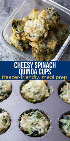 These cheesy spinach quinoa cups are a high protein, veggie-packed snack! Portable, freezer-friendly, and great for meal prep. #mealprep #snack #glutenfree #quinoa #sweetpeasandsaffron Best Breakfast Recipes, Delicious Dinner Recipes, Brunch Recipes, Brunch Ideas, Healthy Chips, Healthy Snacks, Healthy Recipes, Free Recipes, Easy Appetizer Recipes