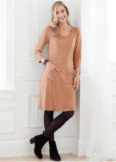 Veloursleder - das neue Material - Kleid in Stretch-Qualität, super bequem, bpc bonprix collection