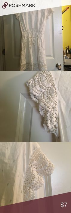 White sundress Crocheted sleeves and bottom. Small tear in left sleeve. Price reflects damage Merona Dresses Mini