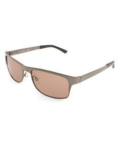 Bronze & Black Rectangle Browline Sunglasses