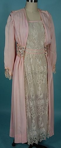 Edwardian Pink Silk And White Lace Dress With Embroidered And Silk Taffeta Waistband    c.1909-1910  Antique & Vintage Dress Gallery