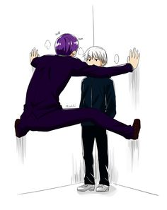 Tokyo Ghoul, Tsukiyama and Kaneki. A perfect visualisation of the relationship between these two. Can't get enough of them when they're together, just think it's hilarious.