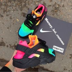 Nike Shoes OFF!> pitch-black-custom-nike-air-huarache-x-rainbow-eyeconicwear Moda Sneakers, Cute Sneakers, Shoes Sneakers, Haraches Shoes, Colorful Sneakers, Fall Shoes, Rainbow Sneakers, Jordans Sneakers, Rainbow Shoes