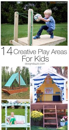 14 Creative Play Areas For Kids Design Dazzle is part of Kids outdoor play - Here are 14 extremely creative and fun play areas for your kids that will sure to zap all the boredom from their brains! Enjoy and happy summertime! Kids Outdoor Play, Outdoor Play Areas, Kids Play Area, Backyard For Kids, Backyard Ideas, Outdoor Toys, Outdoor Games, Porch Ideas, Kids Fun