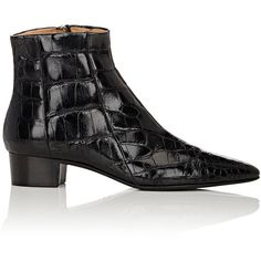 The Row Alligator Ambra Ankle Boots (26.040 BRL) ❤ liked on Polyvore featuring shoes, boots, ankle booties, ankle boots, colorless, pointy toe booties, low heel boots, stacked heel bootie and pointed toe booties