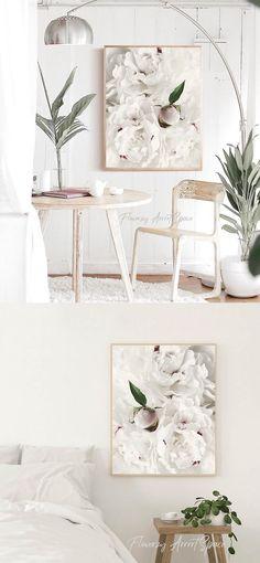 White Peonies, White Flowers, Handmade Shop, Handmade Items, Handmade Gifts, Big Photo, Beige Walls, Kitchen Wall Art, Art For Sale