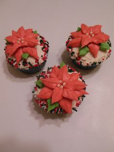 Christmas - Eggnog cupcake decorated with a Christmas Poinsettia