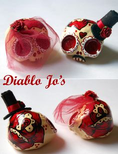 Custom Colours - Wedding Sugar Skull Cake Toppers in Standard colours with red brides veil  www.etsy.com/uk/shop/diablojos