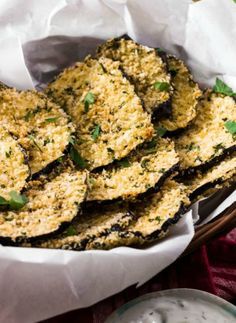 Baked Eggplant Chips with Tzaziki Dip. An easy and healthy snack recipe.