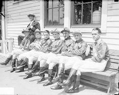 1929 portrait of seven unidentified jockeys