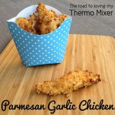 Parmesan Garlic Chicken Strips - The Road to Loving My Thermo Mixer Just use Freedom or Coles brand Gluten Free cornflakes instead