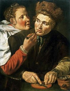 Werner van den Valckert - A Man Cutting Tobacco.  First half of 17th century.  Private collection.  The painting represents an interior with a man wearing a fur hat and cutting tobacco, a lady handing him a pipe. The woman wears an oorijzer, or 'ear iron', the metal structure used to support a bonnet. Almost all contemporary depictions show oorijzers worn in conjunction with a bonnet, the present picture is highly unusual in showing the oorijzer worn without a bonnet.