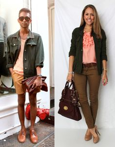 Don't love the inspiration photo, but the outfit she came up with is fabulous.  Love the pink with the neutrals.