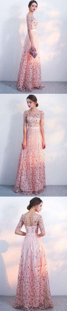 Unique sequin appliques prom dress.Blush pink prom dress, PD2116