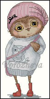 Gallery.ru / Совушки. Пара. - Совушки.( платные, сделаны по заказу)) - Vorozheya Cross Stitch Owl, Cross Stitch Animals, Cross Stitch Embroidery, Cross Stitch Patterns, Owl Pet, Back Stitch, Teddy Bear, Projects To Try, Handmade