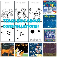 printable constellation cards for kids to learn the star patterns My kids and I have been fascinated with constellations lately and have been wanting to learn more about them. I thought it would be fun to turn it into a learning game. Science Activities For Kids, Science Classroom, Science Lessons, Teaching Science, Science Projects, Teaching Kids, Stem Projects, Science Ideas, Activity Ideas