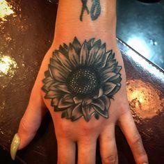 """Just finished a little hand sunflower tattoo for @_stephyymariee , thanks a bunch ! #tattoo #tattoos #sunflower #sunflowertattoo #generation8…"""
